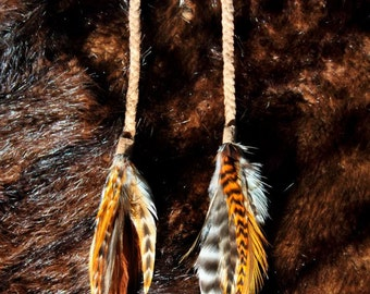 goddess.in.the.woodland ~ Mixed Rooster / Grizzley Rooster Feather Earrings with Long Braided Buckskin