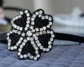 Black Beaded Rhinestone Flower Headband perfect for special occasions weddings, birthdays, bachelorette parties