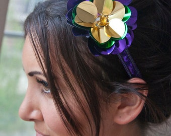 Mardi Gras Flower Headband - Purple, Gold & Green Flower Sequin Headband