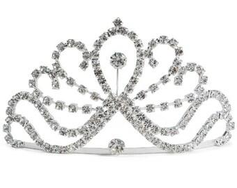 Rhinestone Tiara - Sparkling Glass rhinestone tiara Comb
