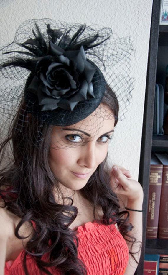 Black Rose Fascinator - Black Sinamay w/ Birdcage & Rose on Headband