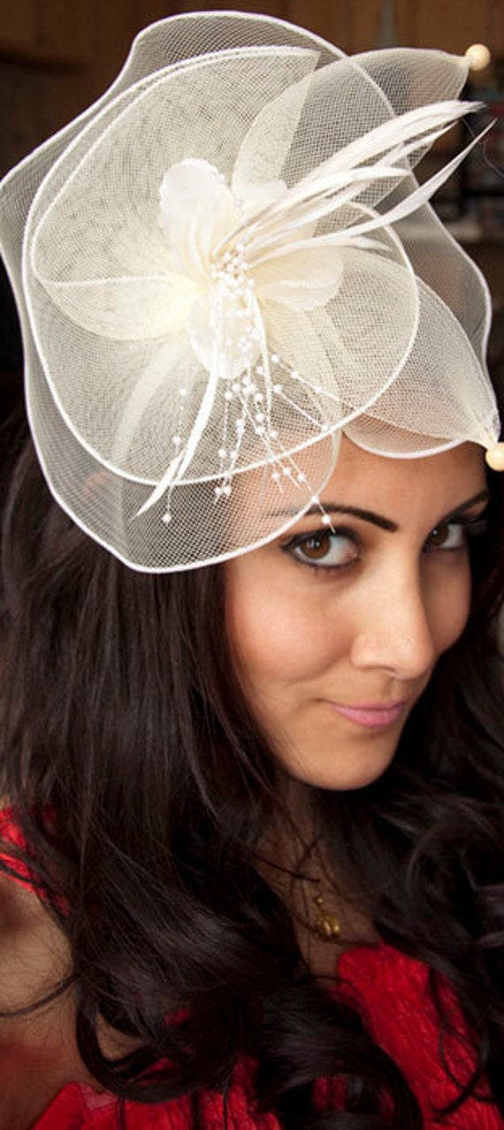 Duchess Elegant Ivroy English Couture Fascinator Hat Headband perfect for wedding, cocktail, derby, church hat