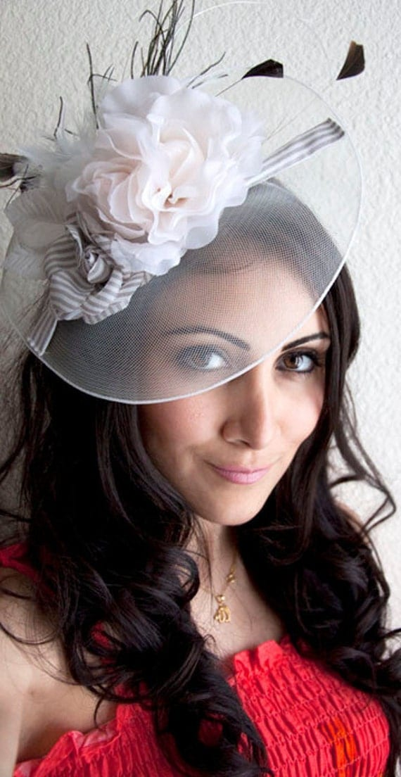 """Ivory Fascinator Hat - """"Grace"""" Hat Fascinator Headband with Feathers and Quills"""