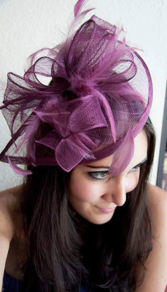 """Maroon Fascinator - """"Penny"""" Mesh Hat Fascinator with Mesh Ribbons and Maroon Feathers"""