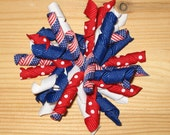 Stars and Stripes Korker Hair Bow, 4th of July, Red, White and Blue