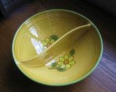 Vintage Metlox Poppytrail Gold Dahlia Round Divided Vegetable Bowl Serving Bowl