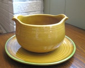 Vintage Metlox Poppytrail Gold Dahlia Gravy Boat with Attached Underplate