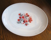 Vintage Fire King Platter - Primrose Pattern - Milkglass with Pink Red Flowers