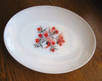 Vintage Fire King Platter - Primrose Pattern - Milkglass with Pink Red Flowers