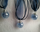 Fried Glass blue  Marble on a dark blue ribbon Necklace