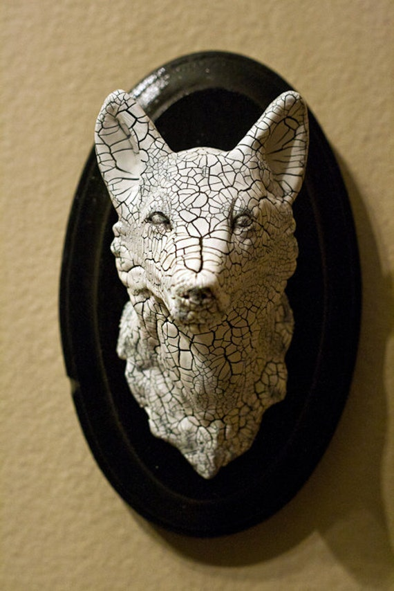 Hand-Made Wolf Faux Taxidermy Animal Mount Home Decor OOAK Crackle Clay Sculpture