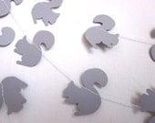 Gray Paper Garland - Autumn Garland - Animal Garland - Baby Shower Garland - Little Gray Squirrel