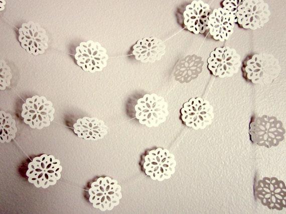 Wedding Garland - Christmas Garland - Winter Wedding - Vintage Wedding - Christmas Snowflakes