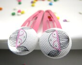 Fabric Covered Button Snap Clip Barrettes, Geek girl
