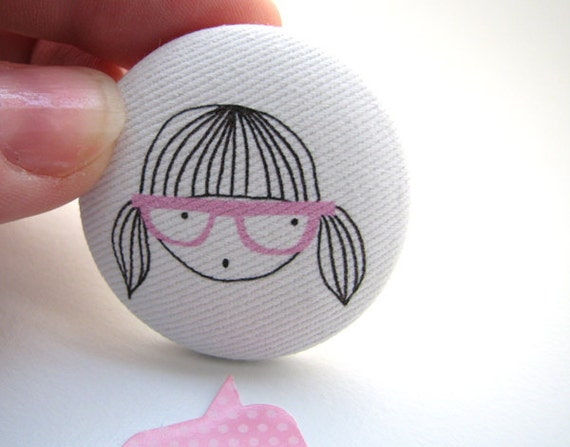 Back to school fabric badge, pin back button brooch, geek