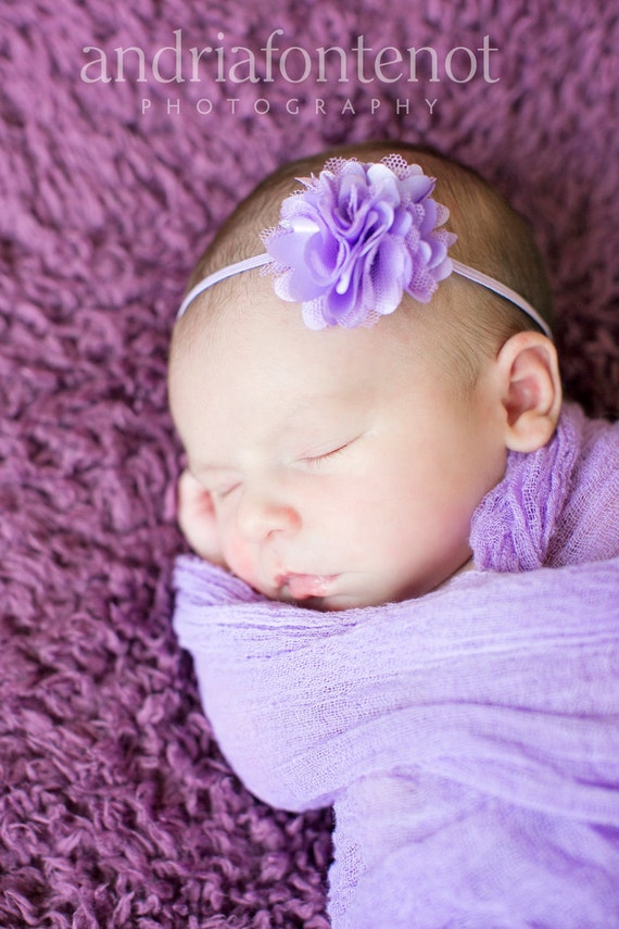 Newborn Headband - Baby Girl Headband - Petite lavender flower puff on a skinny headband