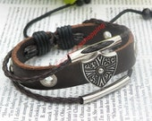 Unique handmade silver shield multilayer leather bracelet hand chain B119 - jewelry with vintage style