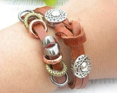Unique handmade silver button multilayer leather bracelet hand chain B120 - jewelry with vintage style
