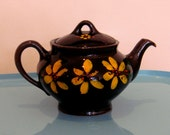 Do Me Daisy Dark Brown Ceramic Teapot with Bright Yellow Flowers