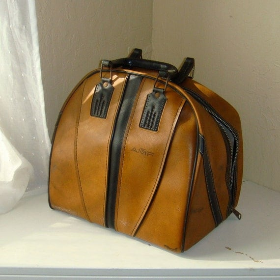 The Dude  1970s Tan and Dark Brown Leather Bowling Bag AMF Plastic Handle