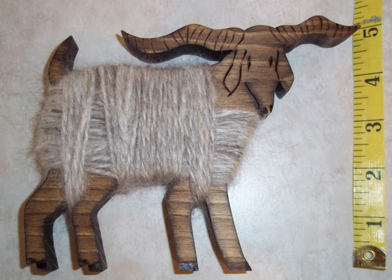 Wooden Angora Buck with Real Mohair