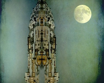Surreal moon art, vertical village, golden moon, tiny houses, turquise sky, square photo