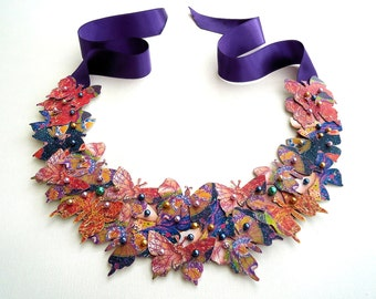 Butterfly Bib Statement Necklace Collar