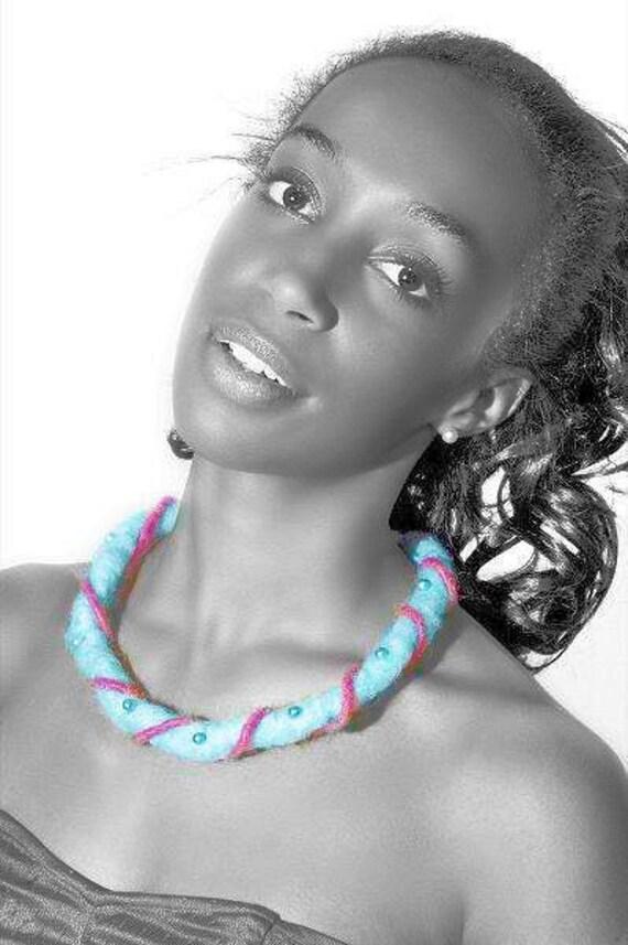 Turquoise Felt Necklace