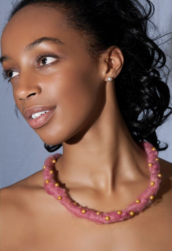 Pink Felt Necklace with Gold Pearls