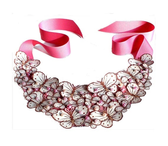 Bib Statement Necklace in Gorgeous Pink with Butterflies as seen on Vogue.
