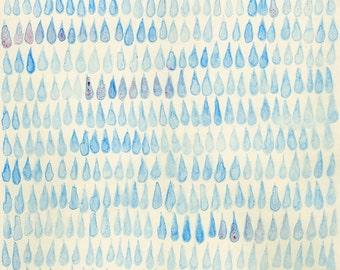 Fine Art Print from Original Watercolor Painting Raindrop Drawing