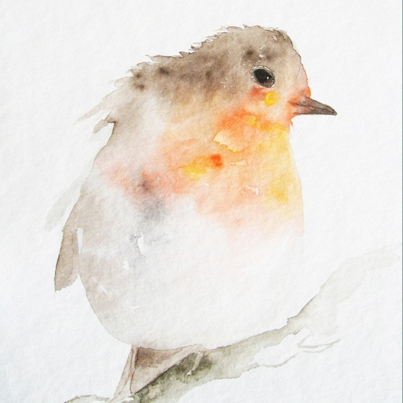 Little Red Robin - Original Watercolor Painting