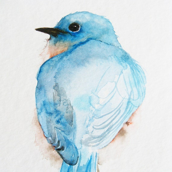 Little Blue Bird's Back - Original Watercolor Painting