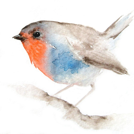 Little Red Breasted Bird - Original Watercolor Painting