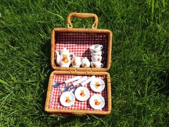 SALE - Children's Vintage Porcelain Garden Tea Set in hamper