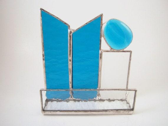 Dark aqua blue stained glass business card holder