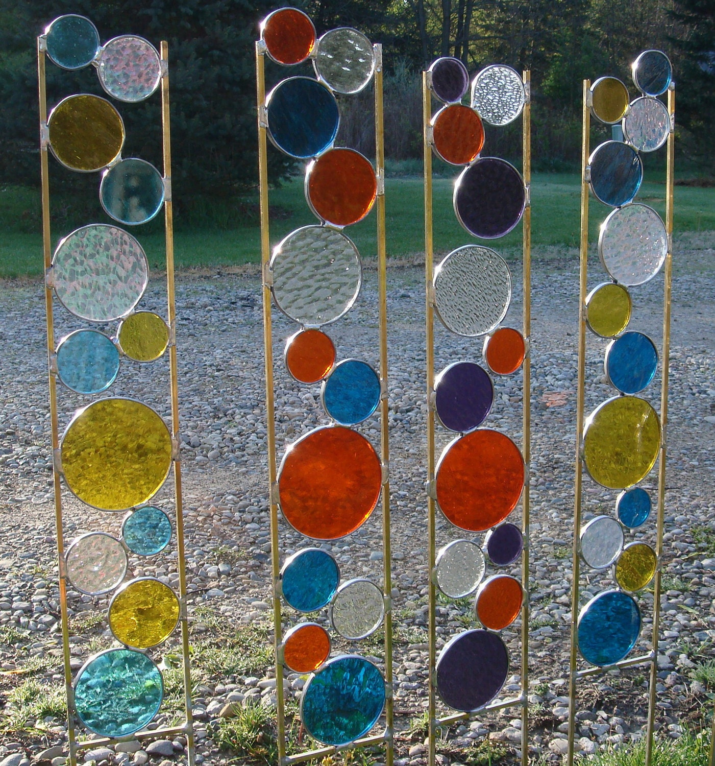 Stained Glass Garden Art Stake Yellow Teal Blue Yard