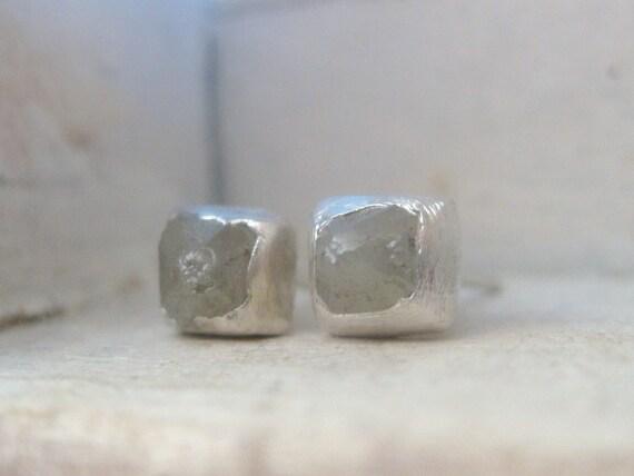 Raw Rough Diamond Stud Earrings