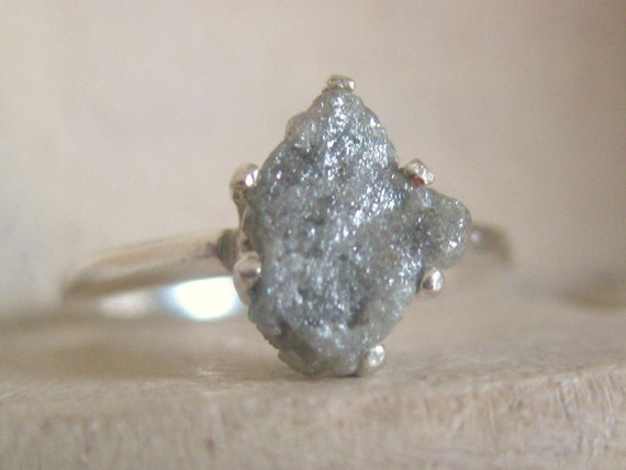 Raw Rough Diamond And Quotes: Raw Rough Uncut Diamond Solitaire Promise-engagement Ring