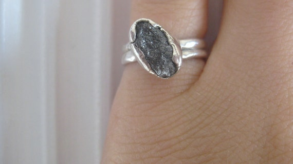 Raw Rough uncut marquise black diamond -double band- engagement- promise ring (Reserved for Stephanie)