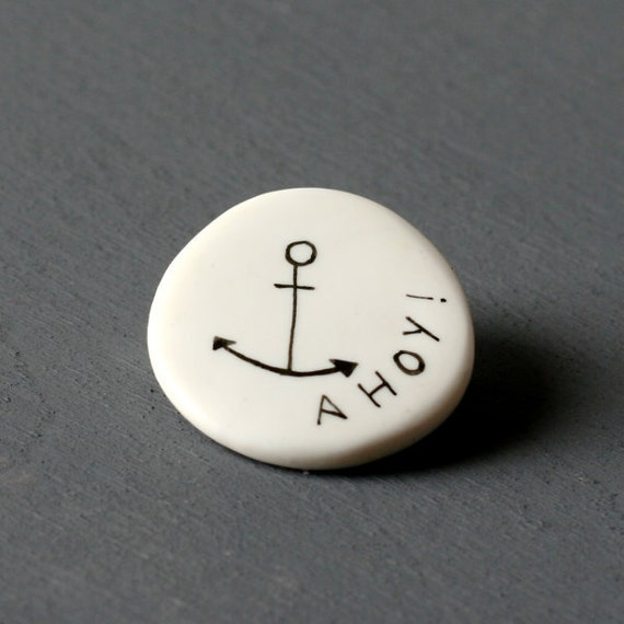 Ahoy - Anchor Brooch - Hand drawn - Handmade jewel