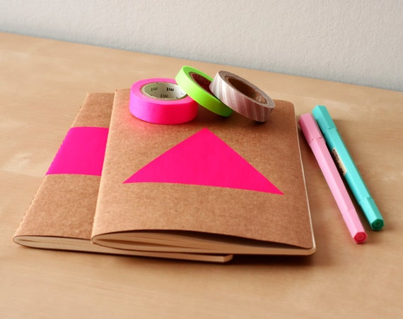 Neon Pink Triangle Notebook - Handpainted Geometric Moleskine - A5 Journal Neon pink - Neon diary or sketchbook