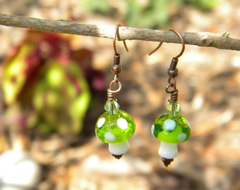 Glass Mushroom Earrings - Wimsical Woodland Gnomes & Fairies