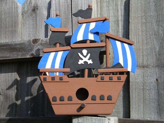 Pirate Ship Bird House - Pirate themed room or Party Decoration