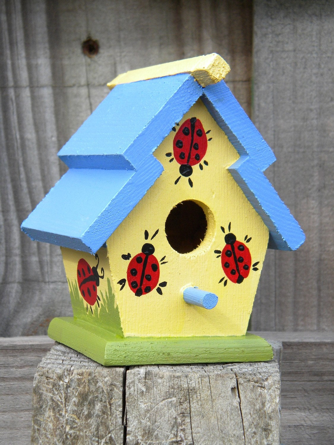 Small Decorative Handpainted Bird House Ladybugs