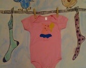 Onesie Pig Princess - Pink - Hand Sewn - Infant Baby