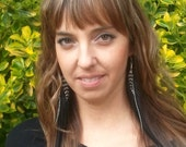 ROCK STAR black and white long whispy feather earrings