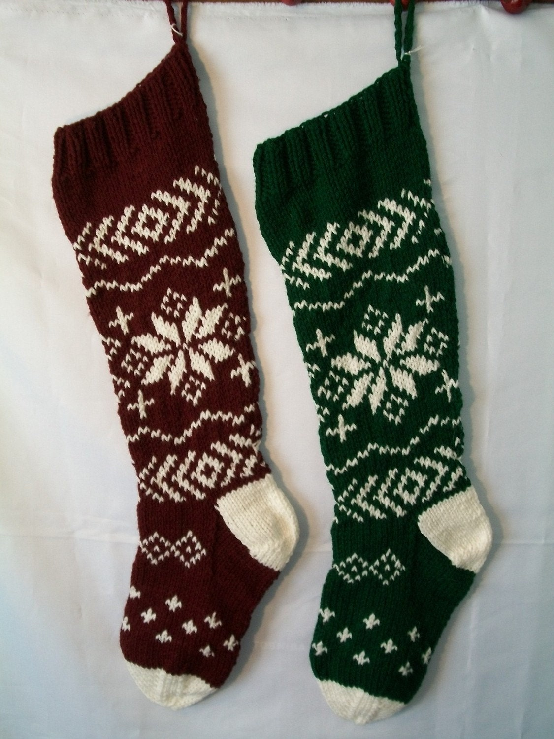 Hand Knitted Christmas Stockings Snowflake Design for Shawna