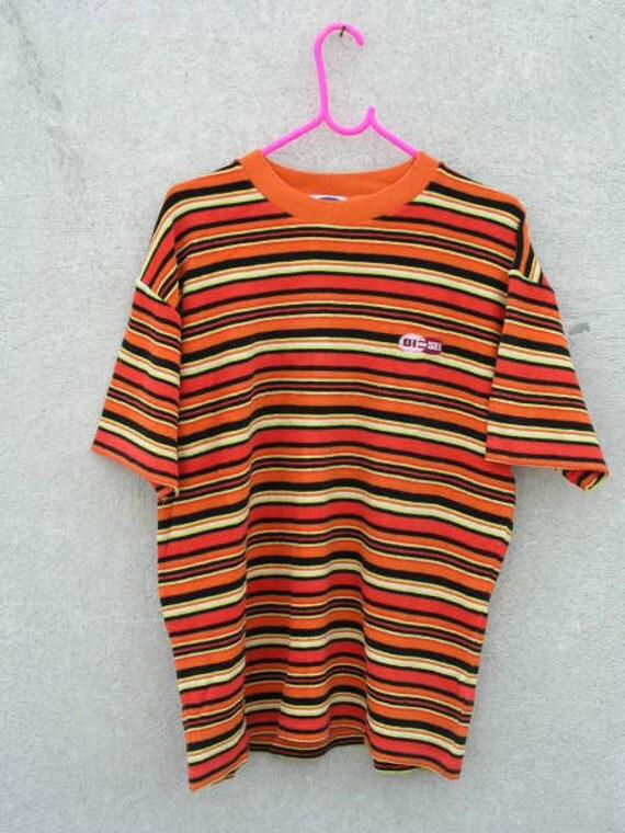 90s Vintage Diesel Stripe T Shirt L