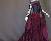 Burgundy Burnout Medieval dress for BJD Dollfie Sd13 sizes
